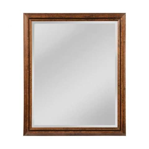 Groove Frame Beveled Wall Mirror - Large In Florentine Light Bronze