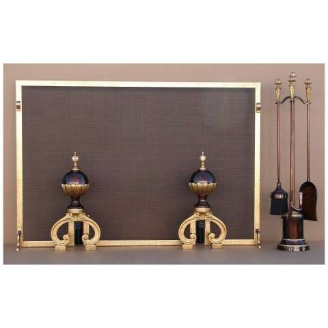 1P10M-ARAN-12-T-18 Solid Brass Fireplace Screen and Accessories