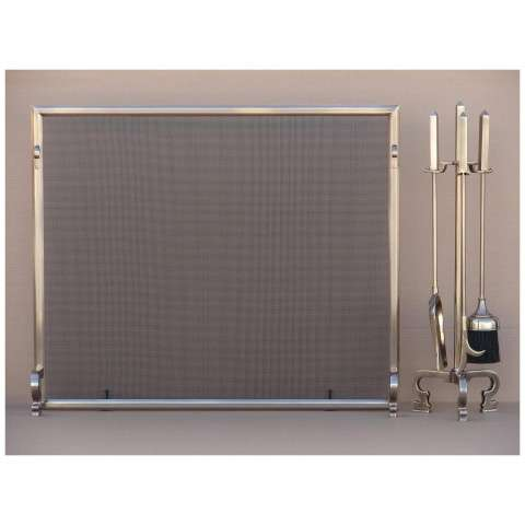 1P10M Solid Brass Beveled Fireplace Screen w/Tools