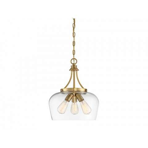 Octave 3 Light Pendant In Warm Brass