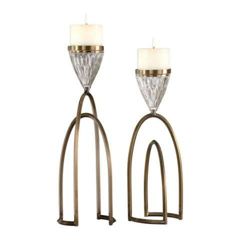 Carma Bronze And Crystal Candleholders - S/2