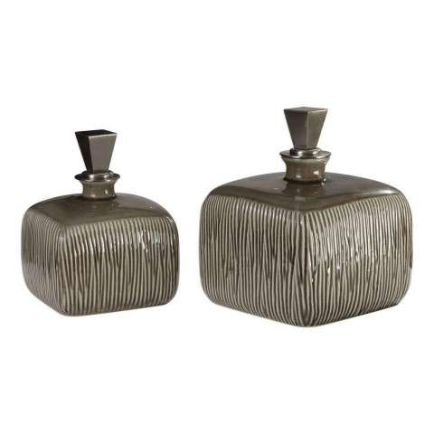 Cayson Ribbed Ceramic Bottles - S/2