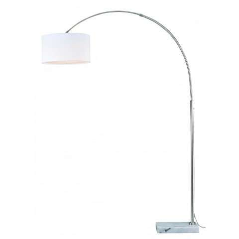 Luna Instalux LED Arc Lamp Satin Nickel with Cream Linen Shade