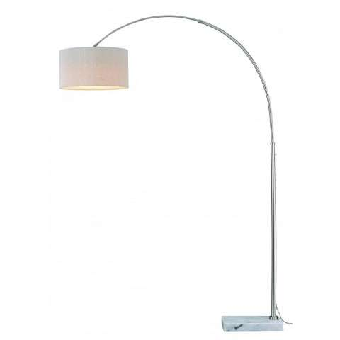 Luna Instalux LED Arc Lamp Satin Nickel with Brown Linen Shade
